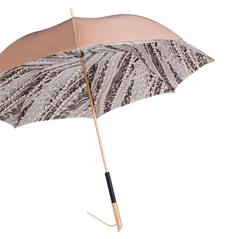 Precio 50% extremadamente único precio de descuento Pasotti Paraguas Oro Claro Estampado Perlas, Tejido Doble ...